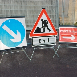 ramps, cones and site safety: TRIO Folding Traffic Signs