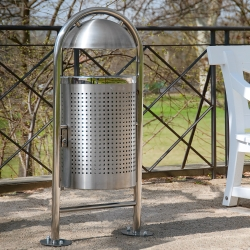 TRAFFIC-LINE Stainless Steel Litter Bin - Style DS35